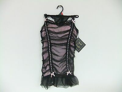 4Rene Rofe Women's Ruched Beaded Chemise and G-StringSet, Black/Pink, Size Large
