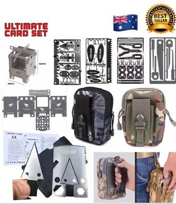#Ultimate Survival Card Set Tactical Axe Fishing First Aid Escape Stove Set