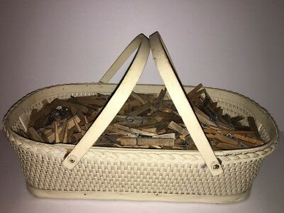 LOT of 300+ Vintage Spring Style Wood Clothes Pins With Woven Basket