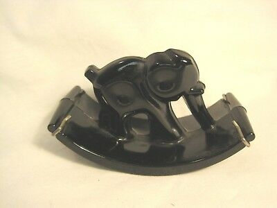 Art Deco Black Glass Elephant Blotter with Paper Holding Clamps