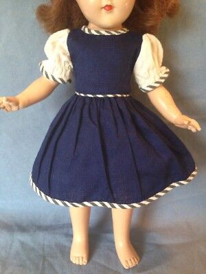 """Vintage 50's Doll Dress & Panties for P-90 Toni or other 14"""" Blue Waffle Cotton"""