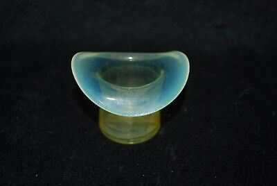 Beautiful Rare Vaseline Opalescent Hat Toothpick Holder 1880's - 1890's
