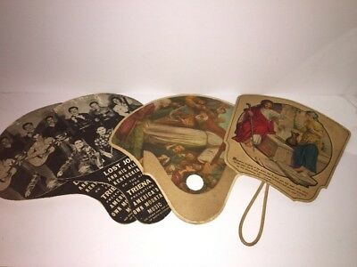 Lot Of 4 Vintage Church Fans- Dry Cleaners, Drug Store Ads