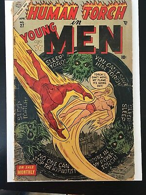 1950s ~ YOUNG MEN # 27 ~ TIMELY COMIC BOOK ~ HUMAN TORCH ~ CAPTAIN AMERICA+