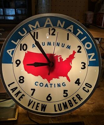 Vintage Original alumantation lake view lumber co. iowa Light Up Clock aluminum