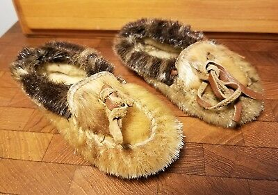Pair of Vintage Childs Native American -  Eskimo Fur Shoes