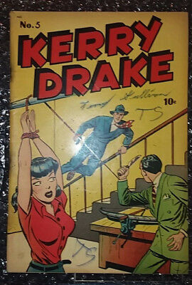 == KERRY DRAKE #5  from 1944 HARVEY - Damsel cover = 2.0-3.0 range condition ==
