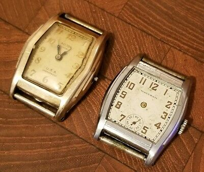 Lot of (2) Vintage Art Deco Mens Manual Wind Watches - Waltham, Kelton