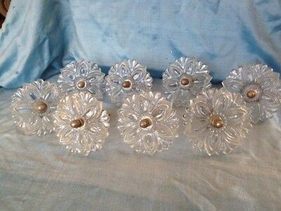 Antique Victorian Sandwich Glass Curtain Tiebacks set of 8 clear flower 3.25""
