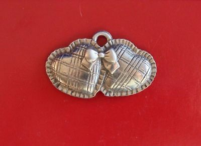 LONGABERGER Basket Pewter Sweetheart Valentine Hearts Tie-On Accent Label 1997
