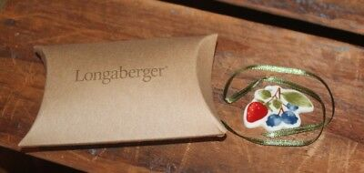 Longaberger Genuine Pottery Fruit Medley Basket Berry Tie On New In Box