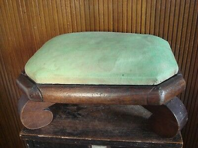 Antique Empire Period Wood and Fabric Foot Stool 1830s, 1840s
