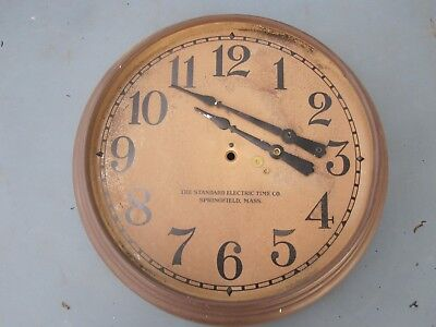 Vtg The Standard Electric Time Co. Springfield Mass Wall Clock no motor or bezel