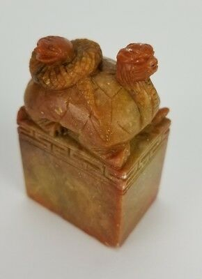 Vintage Chop Seal Soapstone Signed Snake Chinese China THELMA 2""