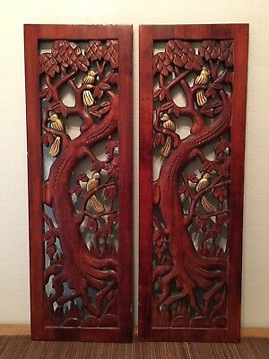 Antique Chinese Wood Carved Panels Trees and Gold Painted Birds