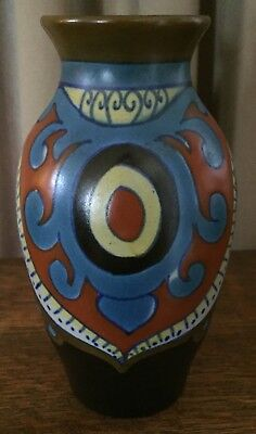1925 Gouda Rioi Vase, Holland - 6 3/4 Inches - Blue, Red, Yellow, Cobalt, Brown