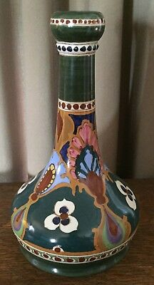 Vintage Ivora Gouda Vase - 9 Inches Tall - Glossy Green, Gold, White, & Maroon