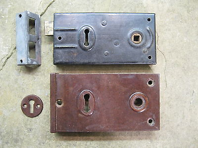 Original 1930's Art Deco Bakelite Brown Rim Lock covers & Locks, Keeps BLO3