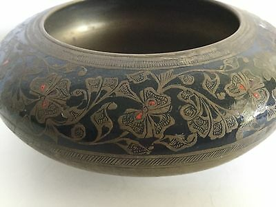 Antique Brass Cloisonné Black Enamel Chinese Bowl