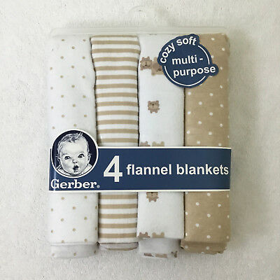 NEW Gerber Baby Receiving Blankets Flannel white tan bears polka dots - 4 PACK