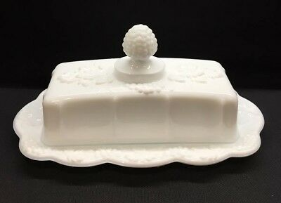 Vintage Rare White Milk Glass Covered Butter Dish Mint Condition