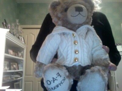 """fao schwarz anniversary bear 12"""" tall in beige sweater with gold buttons."""