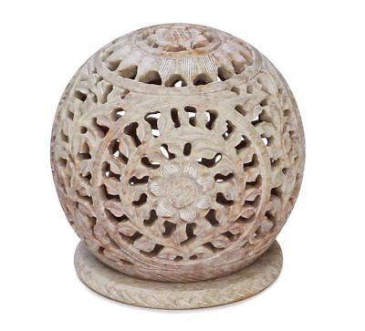"Artist Haat 3.5""Tealight Holder Flower Motifs and Intricate Tendril Open Indian"