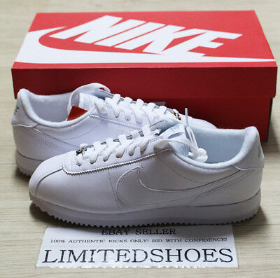 NIKE CORTEZ BASIC LEATHER WHITE GREY SILVER TRIPLE 819719-110 MENS