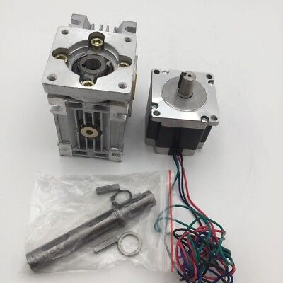 22Nm 6.35mm Shafft Worm Gearbox 20:1 Nema23 L56mm Stepper Motor RV30 Reducer Kit