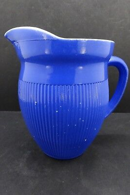 Vintage Milk Cream Ribbed White Glass Pitcher With Fired Cobalt Blue Coating