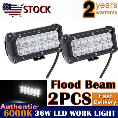 2x 7INCH 36W LED WORK LIGHT BAR FLOOD OFFROAD LAMP 4WD BOAT ATV FOG DRIVING UTE