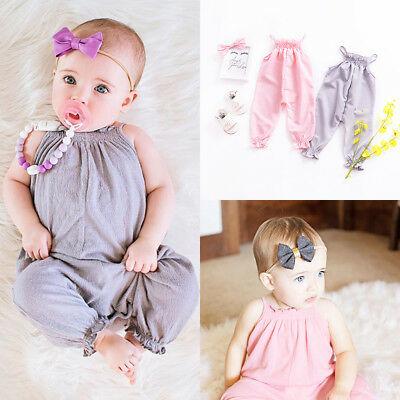 US Stock Summer Toddler Baby Girl Clothes Strap Romper Jumpsuit Playsuit Outfits
