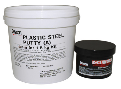 Devcon PLASTIC STEEL PUTTY-A 1.5Kg Repair Epoxy, Hardens In Four Hours*Aust Made
