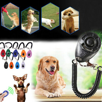 Pet Dog Cat Button Click Clicker Trainer Training Obedience Aid Wrist Strap