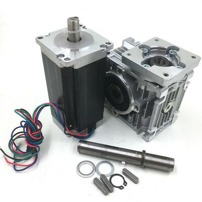 Nema23 Stepper Motor L112mm CNC Router Kit +25:1 Worm Gearbox Speed Reducer 75Nm