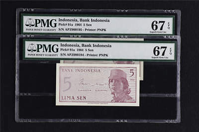 1964 Indonesia Bank Indonesia 5 Sen Pick#91a PMG 67 EPQ Superb Gem UNC 2pcs