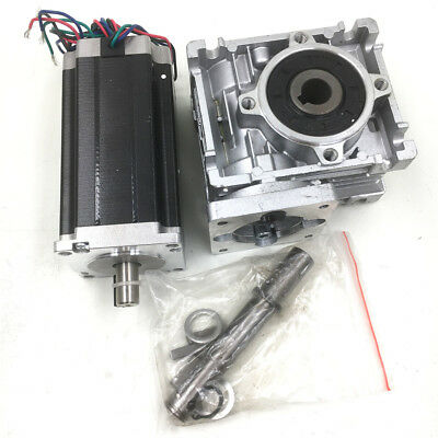 6.35mm Shaft Stepper Motor Nema23 L112mm 4.2A + 30:1 Worm Gearbox Reducer 90Nm