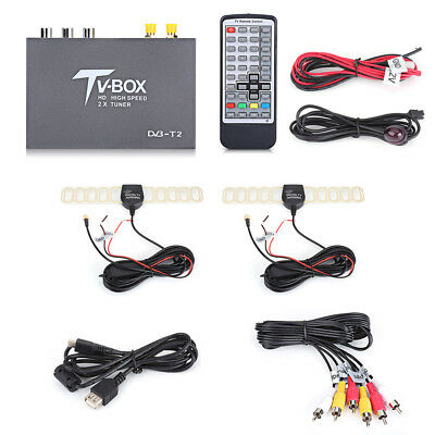 HD 1080P DVB-T2 Car Mobile Digital Analog TV Box Receiver Dual Antenna Tuner ST
