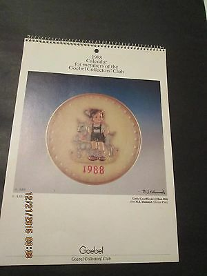 1988 Hummel Calendar For Members Of The Goebel Collector's Club Excellent Cond.