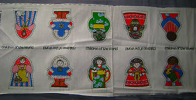 Vintage 1970's Springs Mills Panel CHILDREN OF THE WORLD Dolls/Ornaments