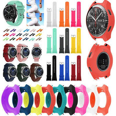 Silicone Strap Band & Watch Screen Case For Samsung Gear S3 Frontier/Classic