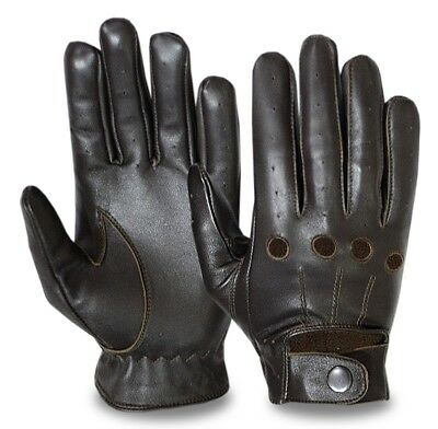 HALF FINGER CAR BUS DRIVING MOTORBIKE GLOVES CHAUFFEUR REAL LEATHER CROCHET BACK