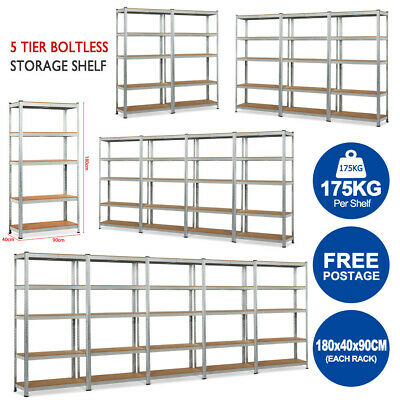 1x 2x 3x 4x 5x 0.9M Warehouse Metal Storage Rack Garage Shelves Shelving Shelf