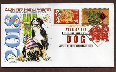 2018 Year Of The Dog ~ Panda Cachet - Combo Dcp First Day Cover