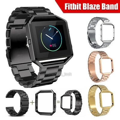 Replacement Watch Band Stainless Steel Metal Wristband +Frame For Fitbit Blaze