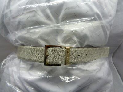 "New ""michael Kors"" Women's Large Reversible Mk Logo Belt Vanilla & Brown"