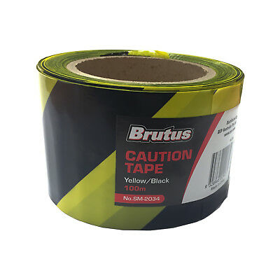 Brutus CAUTION TAPE 75mmx100m Double-Sided Yellow/Black Pattern, Heavy Duty PVC