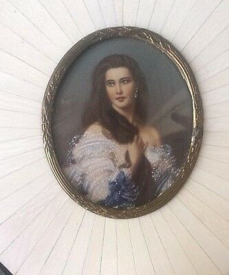 Gorgeous Signed Antique Hand Painted Portrait In Piano Key Tortoise Shell Frame