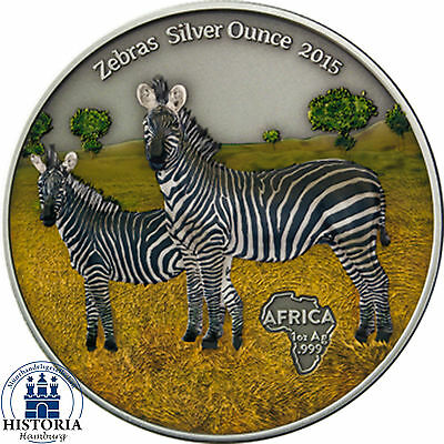 Afrika Serie: Kongo 1000 Francs Silber 2015 Antique Finish Zebras in Farbe