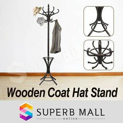 Tree Style Wooden 12 Hooks Coat Hat Bag Clothes Rack Umbrella Stand Hanger Hook